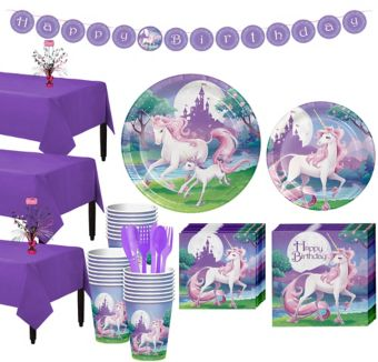 Unicorn Tableware Party Kit for 24 Guests