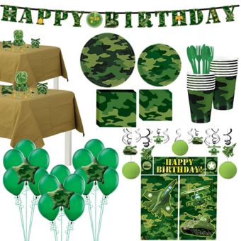 Camouflage Tableware Ultimate Kit for 16 Guests