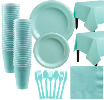 Robin's Egg Blue Plastic Tableware Kit for 50 Guests
