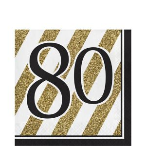 White & Gold Striped 80 Lunch Napkins 16ct