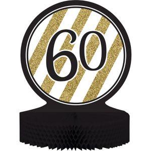 White & Gold Striped 60 Honeycomb Centerpiece