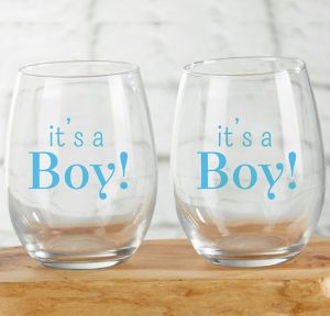 It's a Boy Stemless Wine Glasses 12ct