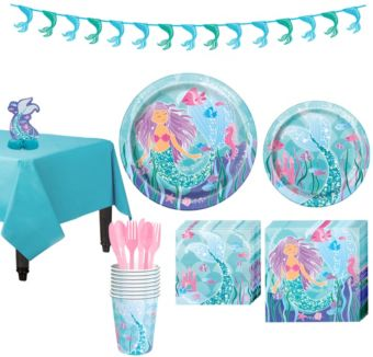 Mermaid Tableware Party Kit for 8 Guests