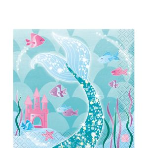 Mermaid Beverage Napkins 16ct