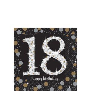 18th Birthday Beverage Napkins 16ct - Sparkling Celebration