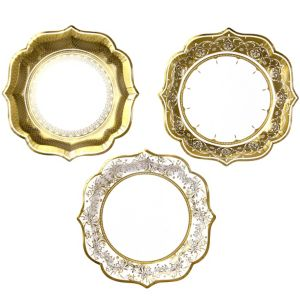 Porcelain Gold Lunch Plates 12ct