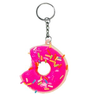 Squeezable Pink Donut Keychain