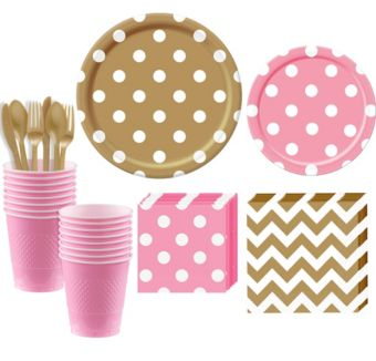 Pink and Gold Polka Dot & Chevron Paper Tableware Kit for 16 Guests