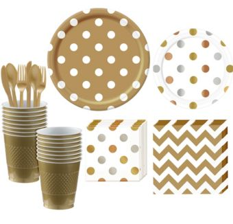 Metallic and Gold Polka Dot & Chevron Paper Tableware Kit for 16 Guests
