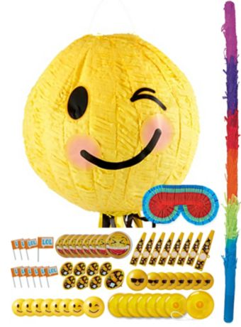 Pull String Winking Smiley Pinata Kit with Favors 11in