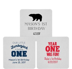 Personalized 1st Birthday 80pt Square Coasters