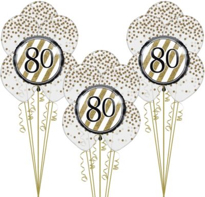 White Gold 80th Happy Birthday Balloon Kit