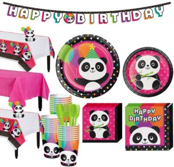 Panda Party Tableware Party Kit for 24 Guests