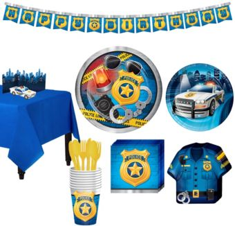 Police Tableware Party Kit for 8 Guests