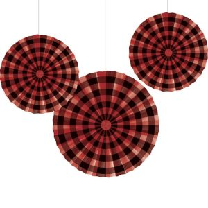 Buffalo Plaid Paper Fan Decorations 3ct