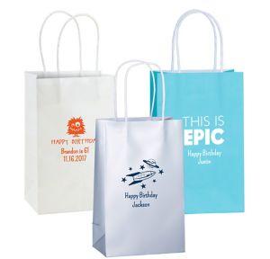 Personalized Medium Boys Birthday Kraft Bags