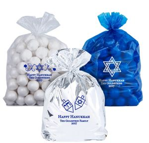 Personalized Medium Hanukkah Plastic Treat Bags