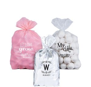 Personalized Small Wedding Plastic Treat Bags