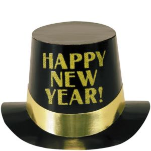 Black & Gold Happy New Year Top Hat