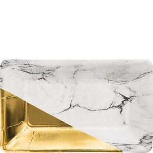 Metallic Gold & Marble Rectangle Dessert Plates 8ct