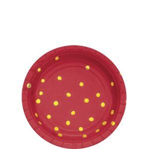 Metallic Gold Polka Dot Red Dessert Plates 8ct
