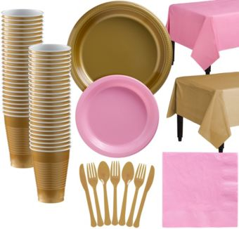 Gold & Pink Plastic Tableware Kit for 50 Guests