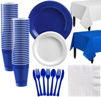 Royal Blue & White Plastic Tableware Kit for 50 Guests