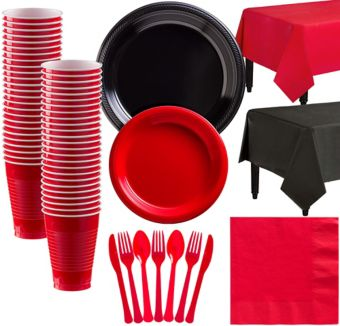 Black & Red Plastic Tableware Kit for 50 Guests