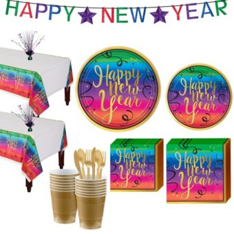 Colorful New Year's Tableware Kit for 36 Guests