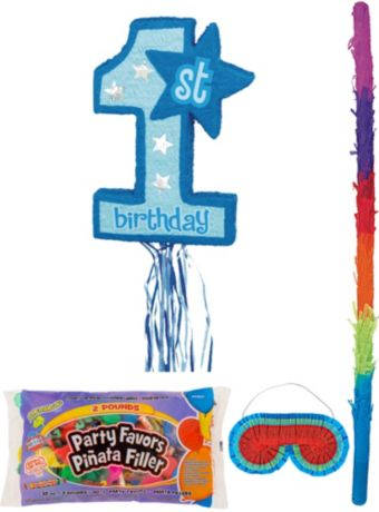 Blue 1st Birthday Pinata Kit with Candy & Favors
