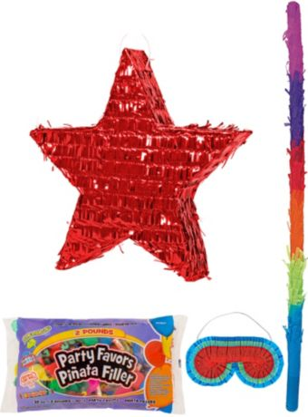 Foil Red Star Pinata Kit with Candy & Favors