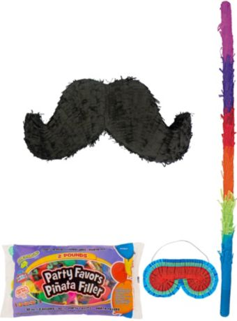 Moustache Pinata Kit with Candy & Favors