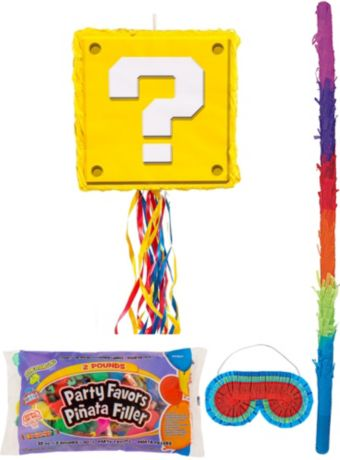 Question Block Pinata Kit with Candy & Favors - Super Mario
