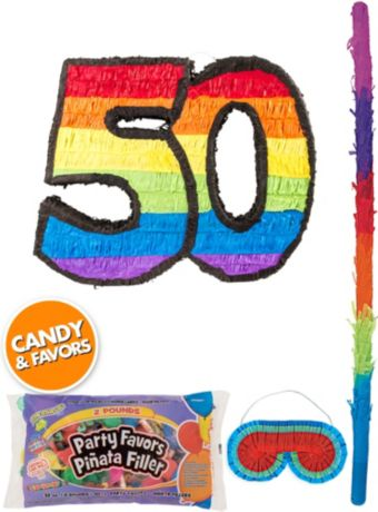Rainbow Number 50 Pinata Kit with Candy & Favors