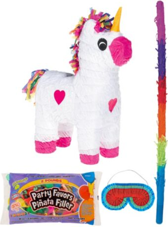 White Unicorn Pinata Kit with Candy & Favors