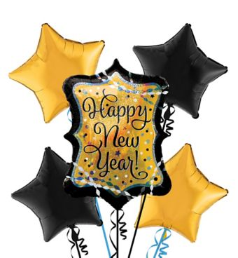 Gold Marquee Happy New Year Balloon Kit