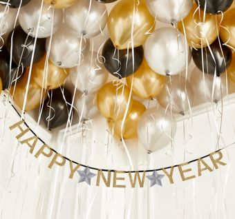 Black, Gold & Silver Happy New Year Ceiling Balloon Kit