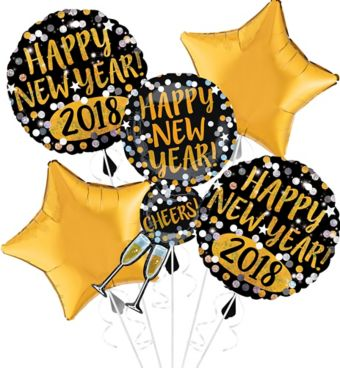 Giant Champagne Glass and Stars Happy New Year Balloon Kit