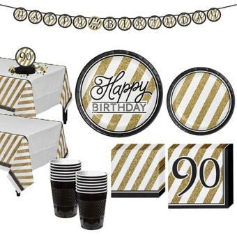 White & Gold Striped 90th Birthday Party Kit for 16 Guests