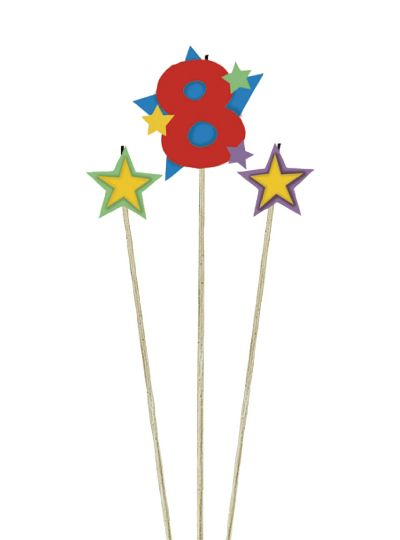 Number 8 & Star Candle Picks 3ct