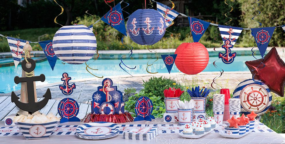 Striped nautical decorations party city for Anchor decoration party