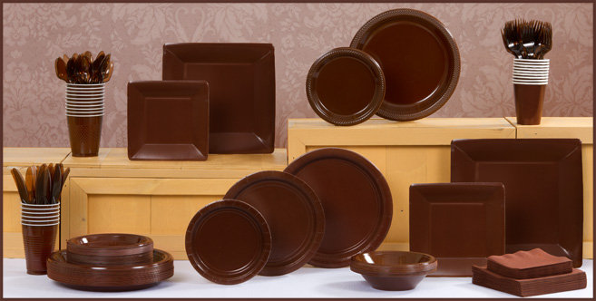 Chocolate Brown Tableware Chocolate Brown Party Supplies