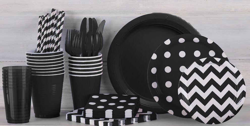 Black polka dot party supplies party city for Black and white polka dot decorations