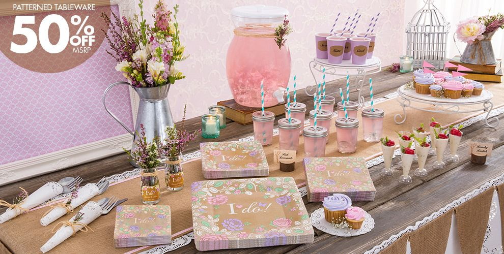 rustic floral wedding party supplies party city - Party City Party Supplies