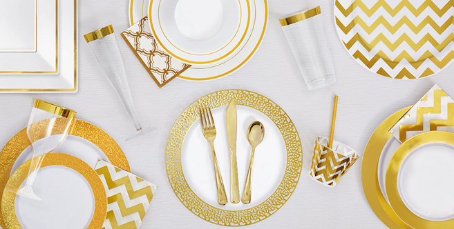 White Gold Premium Tableware Gold Trim Premium Plastic