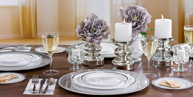 White Silver Premium Tableware Party City