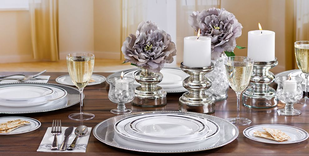 White Silver Trim Tableware  #2