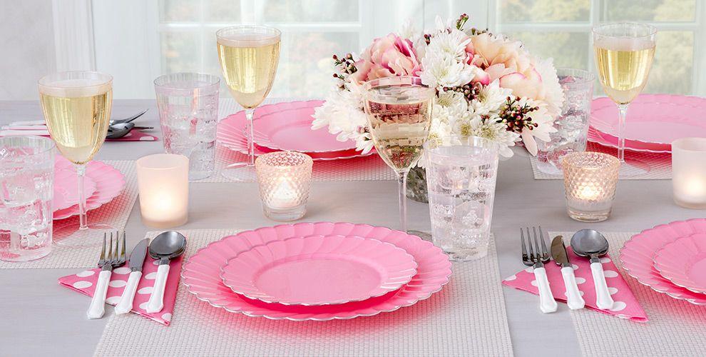 Pink Premium Scalloped Tableware