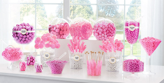 Bright Pink Candy Buffet Supplies Bright Pink Candy