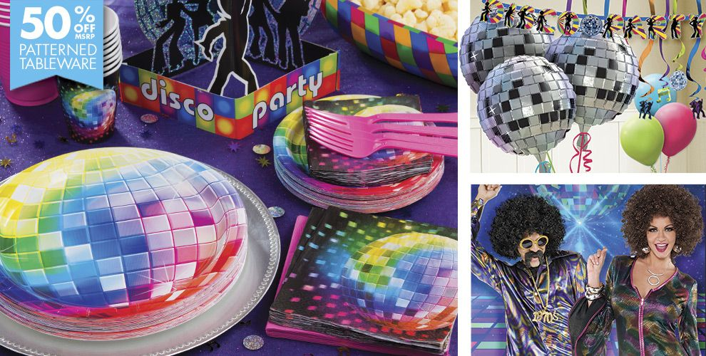Disco party supplies disco theme party party city for Decoration 70s party